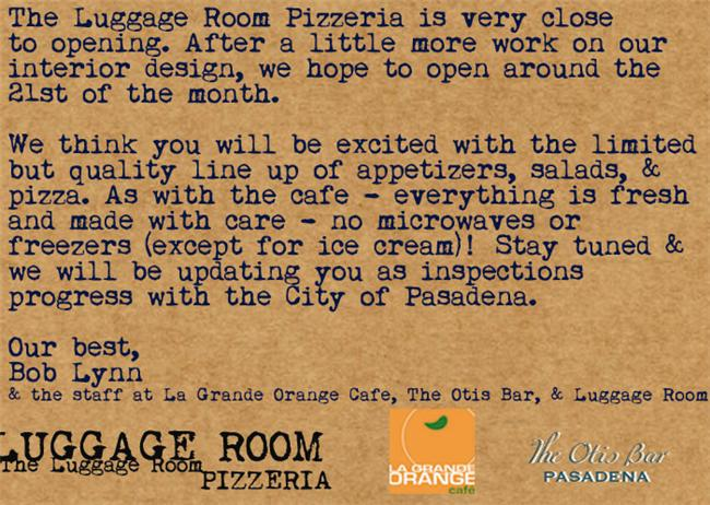 Luggage Room Pizza Reservations
